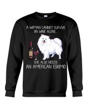 Wine and American Eskimo Crewneck Sweatshirt thumbnail