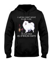Wine and American Eskimo Hooded Sweatshirt thumbnail
