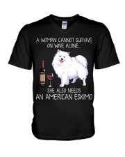 Wine and American Eskimo V-Neck T-Shirt thumbnail