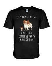 Papillon Coffee and Naps V-Neck T-Shirt thumbnail