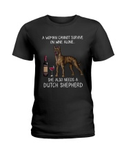 Wine and Dutch Shepherd Ladies T-Shirt thumbnail