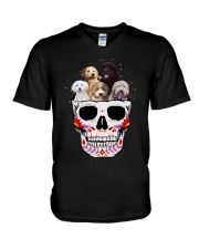 Half Skull Labradoodle V-Neck T-Shirt thumbnail