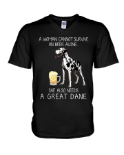 Beer and Great Dane V-Neck T-Shirt thumbnail