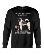 Wine and Norwegian Elkhound Crewneck Sweatshirt thumbnail