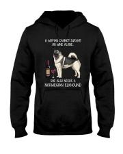 Wine and Norwegian Elkhound Hooded Sweatshirt thumbnail