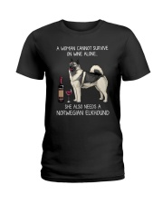 Wine and Norwegian Elkhound Ladies T-Shirt thumbnail