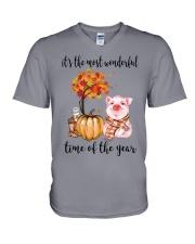 The Most Wonderful Time - Pig V-Neck T-Shirt thumbnail