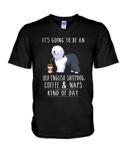 Old English Sheepdog Coffee and Naps V-Neck T-Shirt thumbnail
