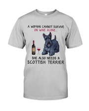 Wine and Scottish Terrier 2 Classic T-Shirt front