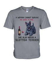 Wine and Scottish Terrier 2 V-Neck T-Shirt thumbnail