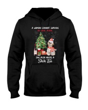 Christmas Wine and Shih Tzu Hooded Sweatshirt thumbnail