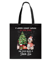 Christmas Wine and Shih Tzu Tote Bag thumbnail