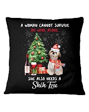 Christmas Wine and Shih Tzu Square Pillowcase thumbnail