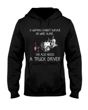 Wine and A Truck Driver Hooded Sweatshirt thumbnail