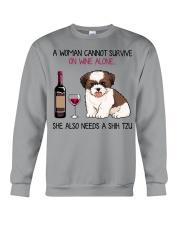 Wine and Shih Tzu 4 Crewneck Sweatshirt thumbnail