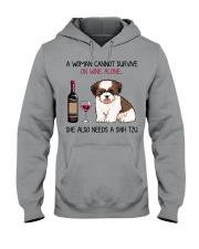 Wine and Shih Tzu 4 Hooded Sweatshirt thumbnail