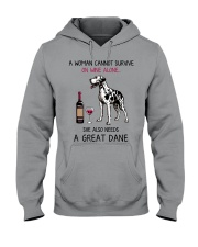 Wine and Great Dane 2 Hooded Sweatshirt thumbnail