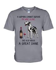Wine and Great Dane 2 V-Neck T-Shirt thumbnail