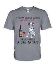 Wine and Dalmatian 2 V-Neck T-Shirt thumbnail