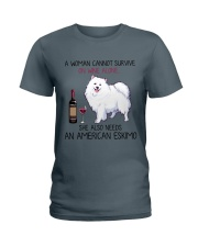 Wine and American Eskimo 2 Ladies T-Shirt thumbnail