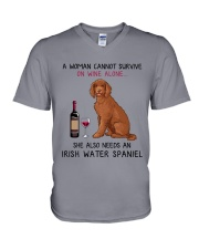 Wine and Irish Water Spaniel 2 V-Neck T-Shirt thumbnail