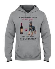Wine and Doberman 2 Hooded Sweatshirt thumbnail