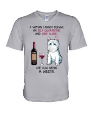 Cannot Survive Alone - Westie V-Neck T-Shirt thumbnail