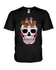 Half Skull Boxer V-Neck T-Shirt thumbnail