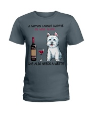Wine and Westie 2 Ladies T-Shirt thumbnail