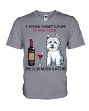 Wine and Westie 2 V-Neck T-Shirt thumbnail