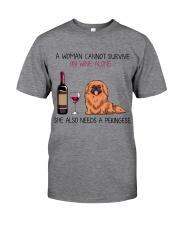 Wine and Pekingese 2 Classic T-Shirt tile