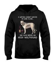 Wine and Irish Wolfhound Hooded Sweatshirt thumbnail
