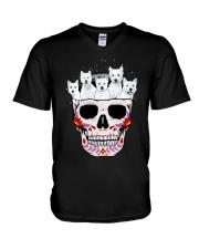 Half Skull Westie V-Neck T-Shirt thumbnail