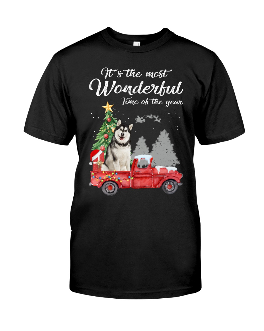 Wonderful Christmas with Truck - Alaskan Malamute Classic T-Shirt