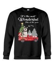 Wonderful Christmas with Truck - Alaskan Malamute Crewneck Sweatshirt thumbnail