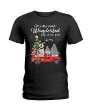 Wonderful Christmas with Truck - Alaskan Malamute Ladies T-Shirt thumbnail