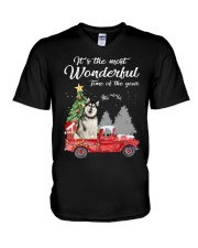 Wonderful Christmas with Truck - Alaskan Malamute V-Neck T-Shirt thumbnail