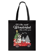 Wonderful Christmas with Truck - Alaskan Malamute Tote Bag thumbnail