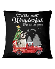 Wonderful Christmas with Truck - Alaskan Malamute Square Pillowcase thumbnail