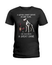 Wine and Great Dane Ladies T-Shirt thumbnail