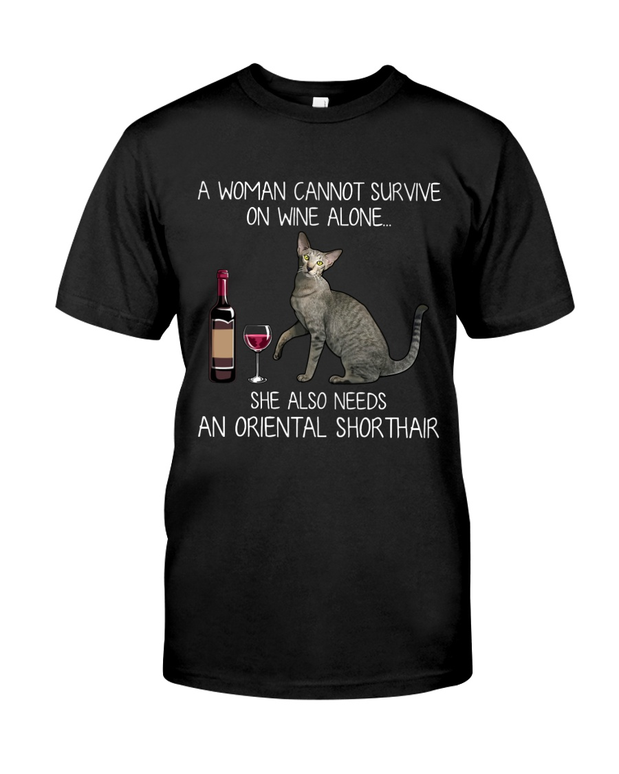 Wine and Oriental Shorthair  Classic T-Shirt