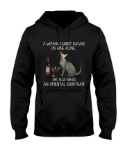 Wine and Oriental Shorthair  Hooded Sweatshirt thumbnail