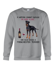 Wine and Manchester Terrier 2 Crewneck Sweatshirt thumbnail