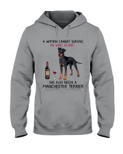 Wine and Manchester Terrier 2 Hooded Sweatshirt thumbnail