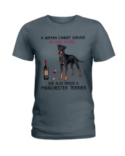 Wine and Manchester Terrier 2 Ladies T-Shirt thumbnail