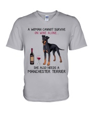 Wine and Manchester Terrier 2 V-Neck T-Shirt thumbnail