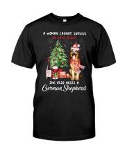 Christmas Wine and German Shepherd Classic T-Shirt front