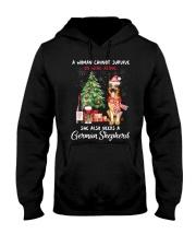 Christmas Wine and German Shepherd Hooded Sweatshirt thumbnail