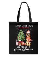 Christmas Wine and German Shepherd Tote Bag thumbnail