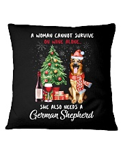 Christmas Wine and German Shepherd Square Pillowcase thumbnail